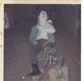 "Asst. Chief Ed Stagner ""wrapped up"" during first aid training, January 1968"