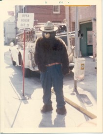 Smokey the Bear at Open House with 1931 American LaFrance October 1973