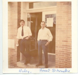 Ed Ruby & Frank Schrader at the entrance to the old firehouse.