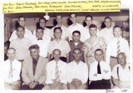 1955 Basic Firefighting Class Row 1; Herb Corbin, Bob Byrus (Head of UM Extension service), Ray Smith, Oscar Armacost, Albert Phillips, William Shaffer, Row 2; Jake Starner, Jack Stone, Buss Geist, John Bellusci, Arnold Martin, William Auer, Row 3; Robert Porterfield, Herman Hare, Earl Miller, Roland Murray, Paul Bare, Bayard Bollinger
