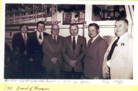 "February 1981 Board of Managers L-R Dennis Rhoten, Dana Seipp, Charles ""Doc"" Walter, Wally Boston, John Korman, Herman Hare"