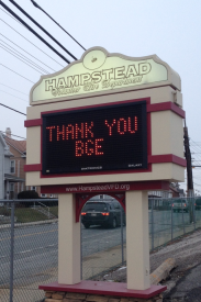 Our appreciation to BGE has been displayed on our electronic sign in front of the firehouse. Thank you BGE!